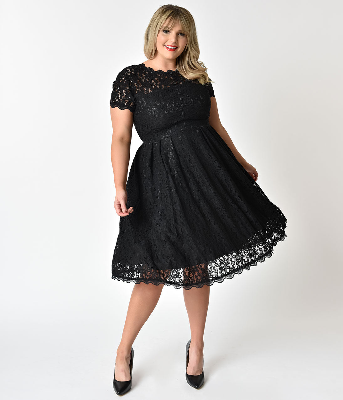 1940s Style Black Lace Short Sleeves Cocktail Swing Dress – Unique ...