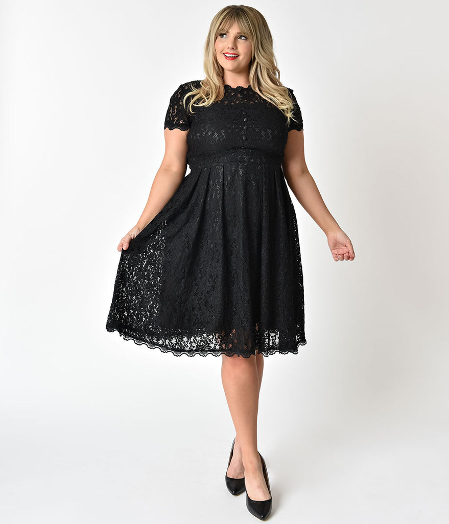 Plus Size 1940s Style Black Lace Short Sleeves Cocktail Swing Dress ...