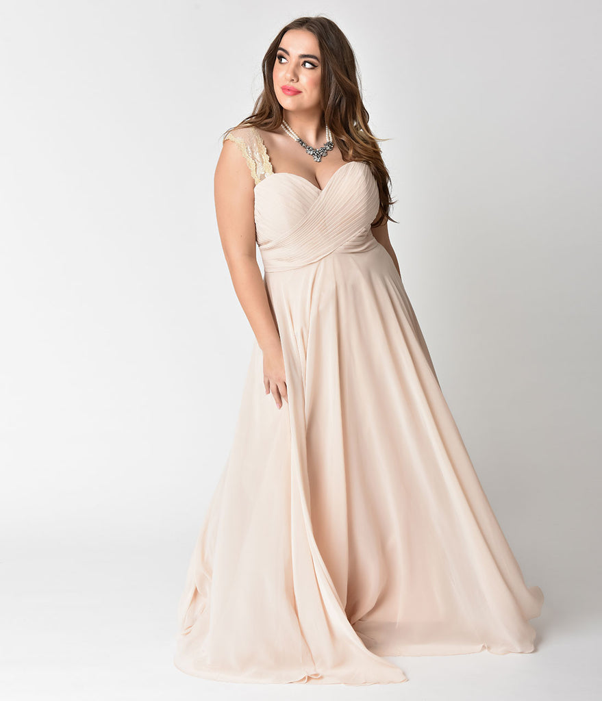 Plus Size Champagne Lace Strap Sweetheart Neckline Chiffon Gown ...