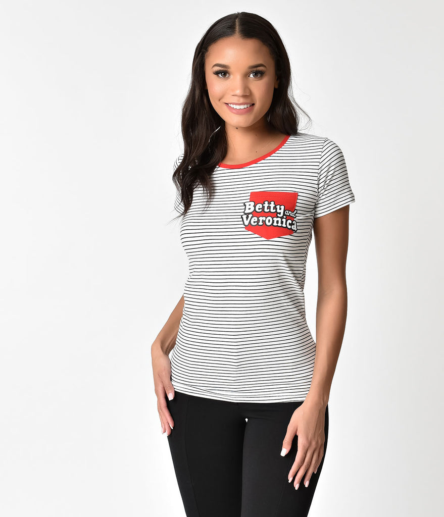 Black & White Stripe Betty & Veronica Logo Cotton Tee Shirt