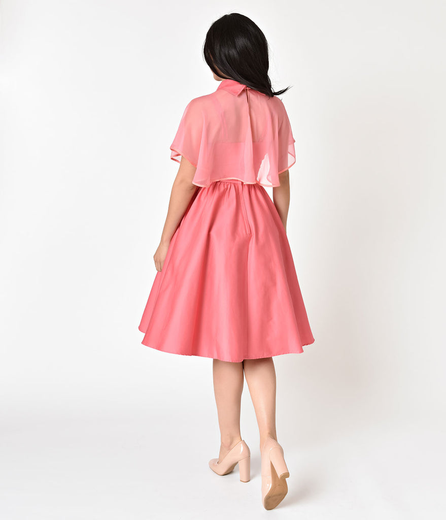 Unique Vintage 1940s Style Coral Pink Luna Swing Dress & Mesh Capelet