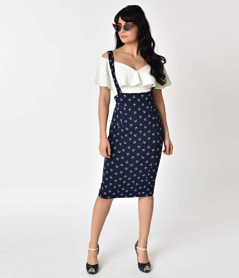 Unique Vintage Navy Blue & Anchor Print Sabrina Suspender Skirt