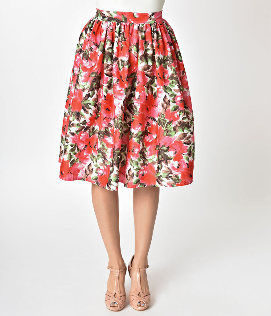 Unique Vintage 1950s Style Pink Floral High Waist Swing Skirt
