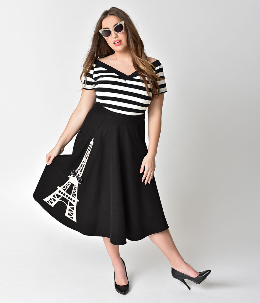 Unique Vintage Plus Size 1950s Black & Light Pink Eiffel Tower Soda Shop Swing Skirt