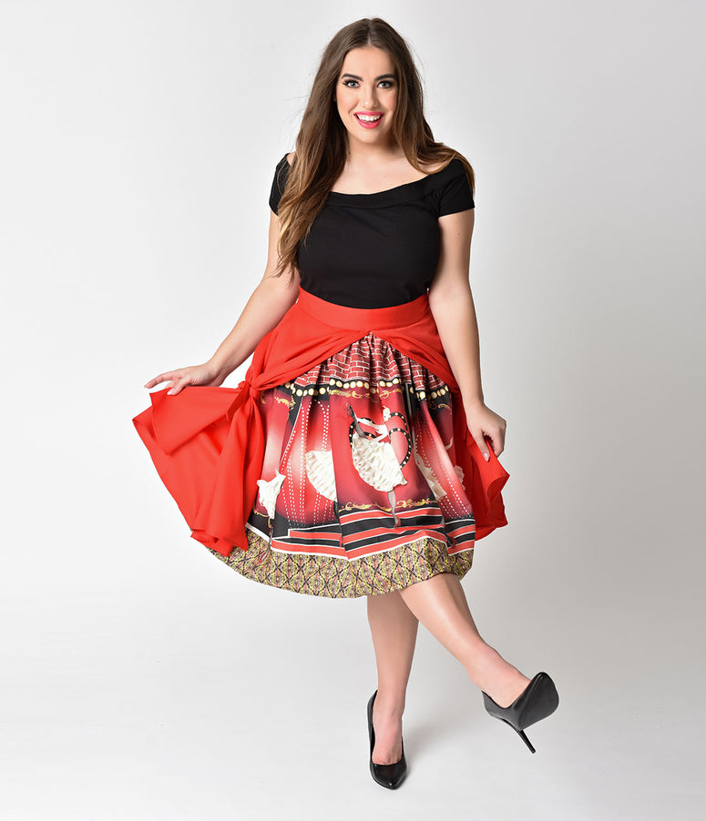 Unique Vintage Plus Size 1950s Style The Moulin Rouge High Waist Swing Skirt