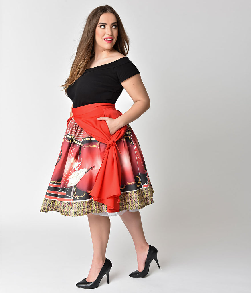 Unique Vintage Plus Size 1950s Style Showgirl Print High Waist Swing Skirt