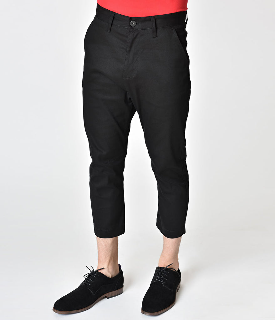 Retro Style Black Denim Mens Highwater Pants
