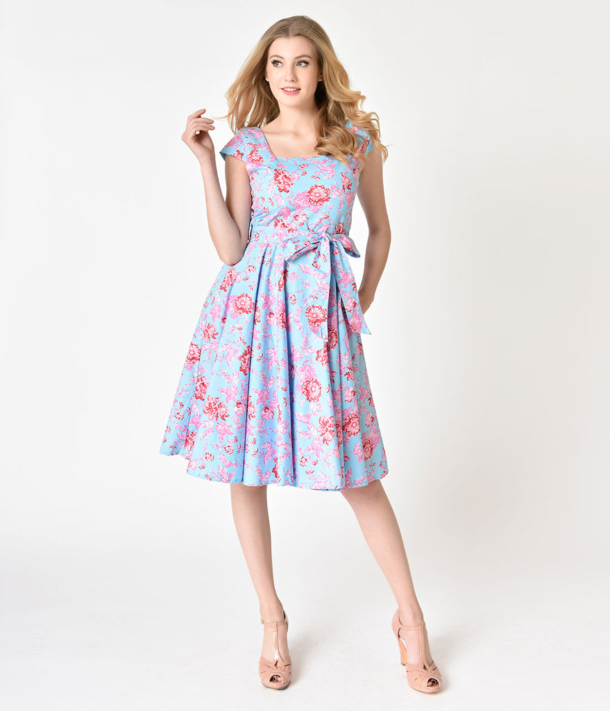 Retro Style Light Blue & Pink Floral Cap Sleeve Anna Swing Dress