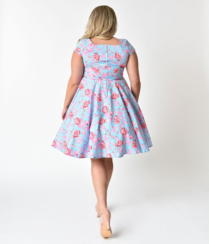Plus Size Retro Style Light Blue Pink Floral Cap Sleeve Anna Swing
