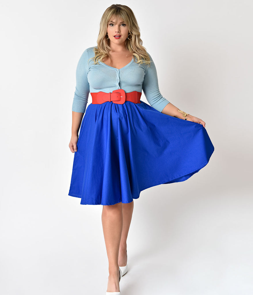 Plus Size 1950s Style Royal Blue Cotton Swing Skirt