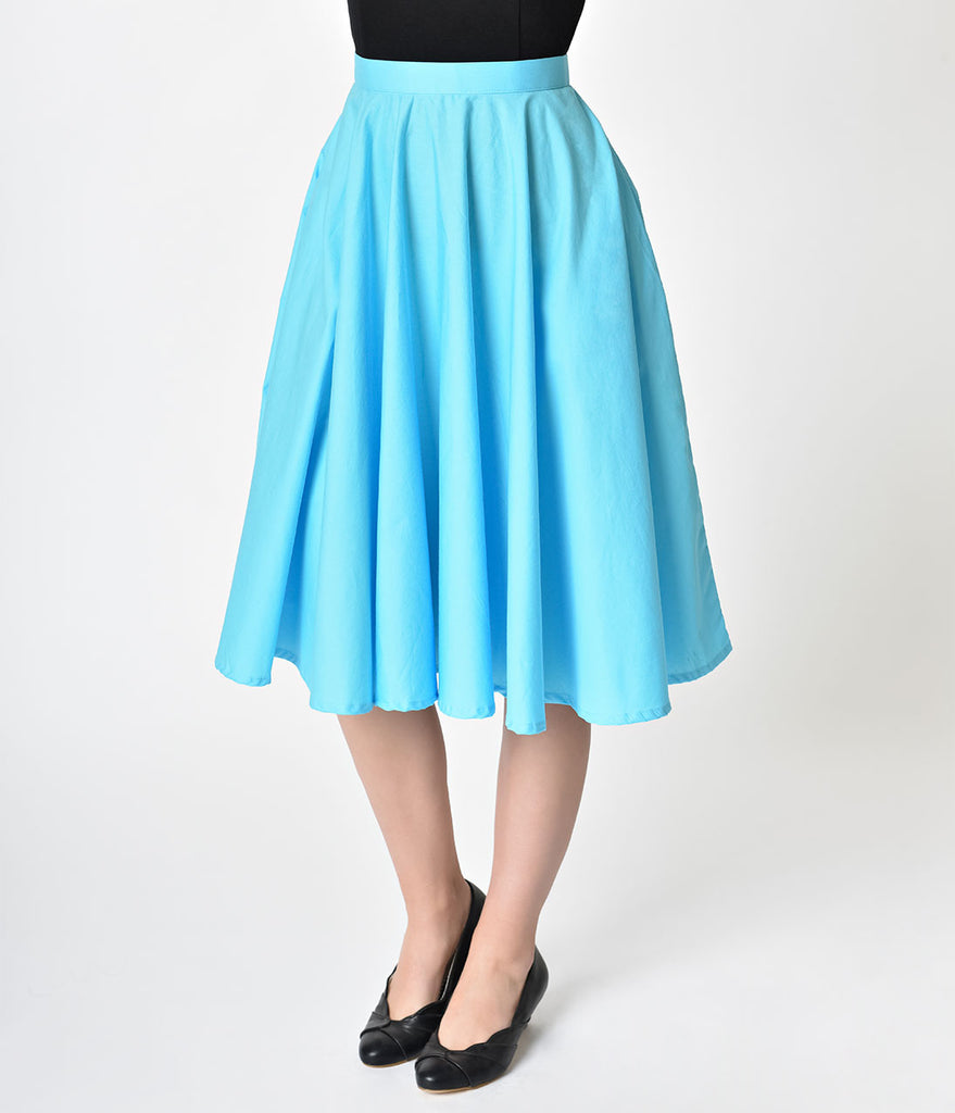 1950s Style Turquoise Blue Cotton Swing Skirt