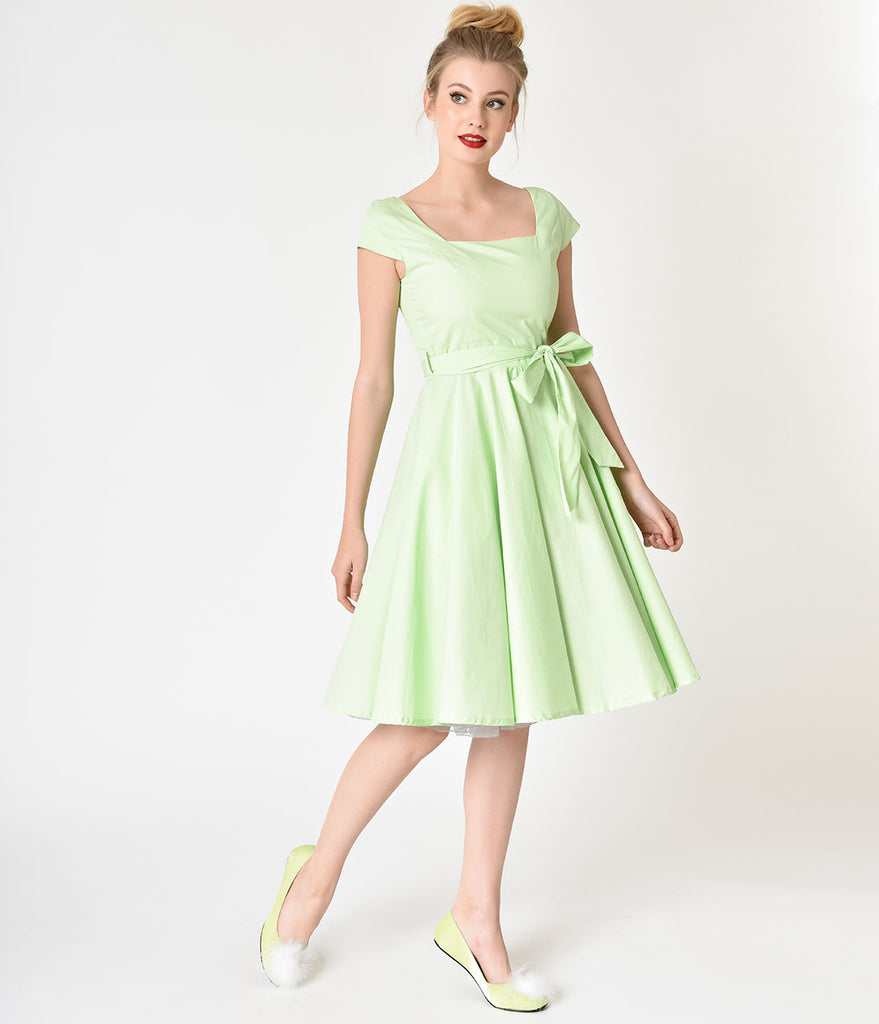 Retro Style Lime Green Cap Sleeve Anna Swing Dress