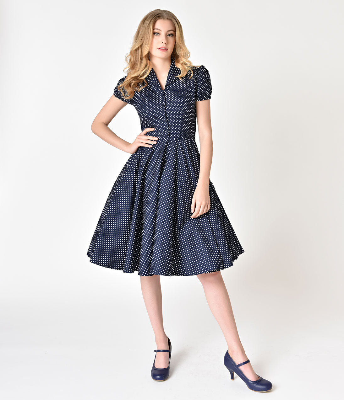 Pin Up Dresses | Pin Up Clothing 1950s Style Navy  White Polka Dot Short Sleeve Mona Swing Dress $68.00 AT vintagedancer.com