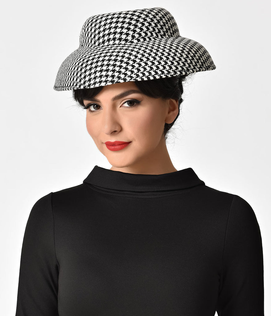 Unique Vintage Black & White Houndstooth Print Mushroom Style Hat