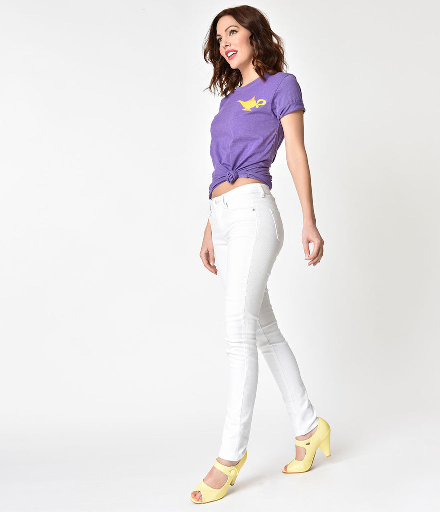 Pin-Up Style White Button Up Denim Skinny Jeans