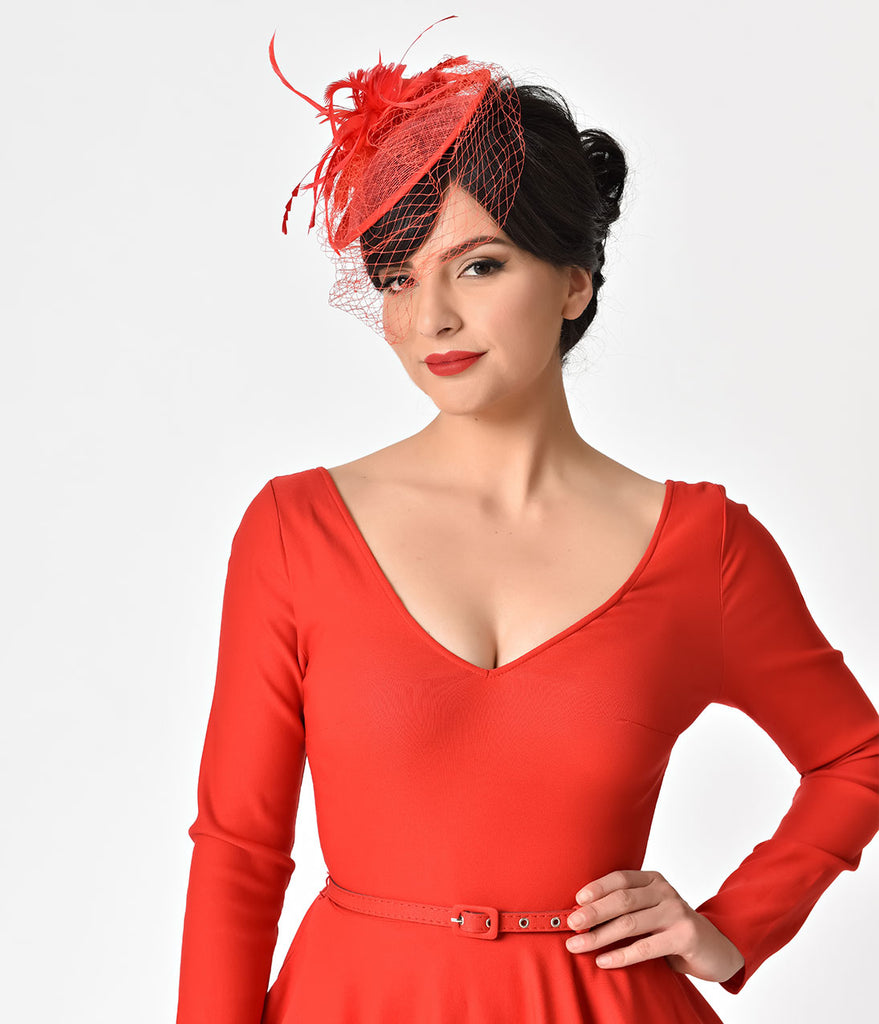 Unique Vintage 1940s Style Red Feathered Sinamay Fascinator