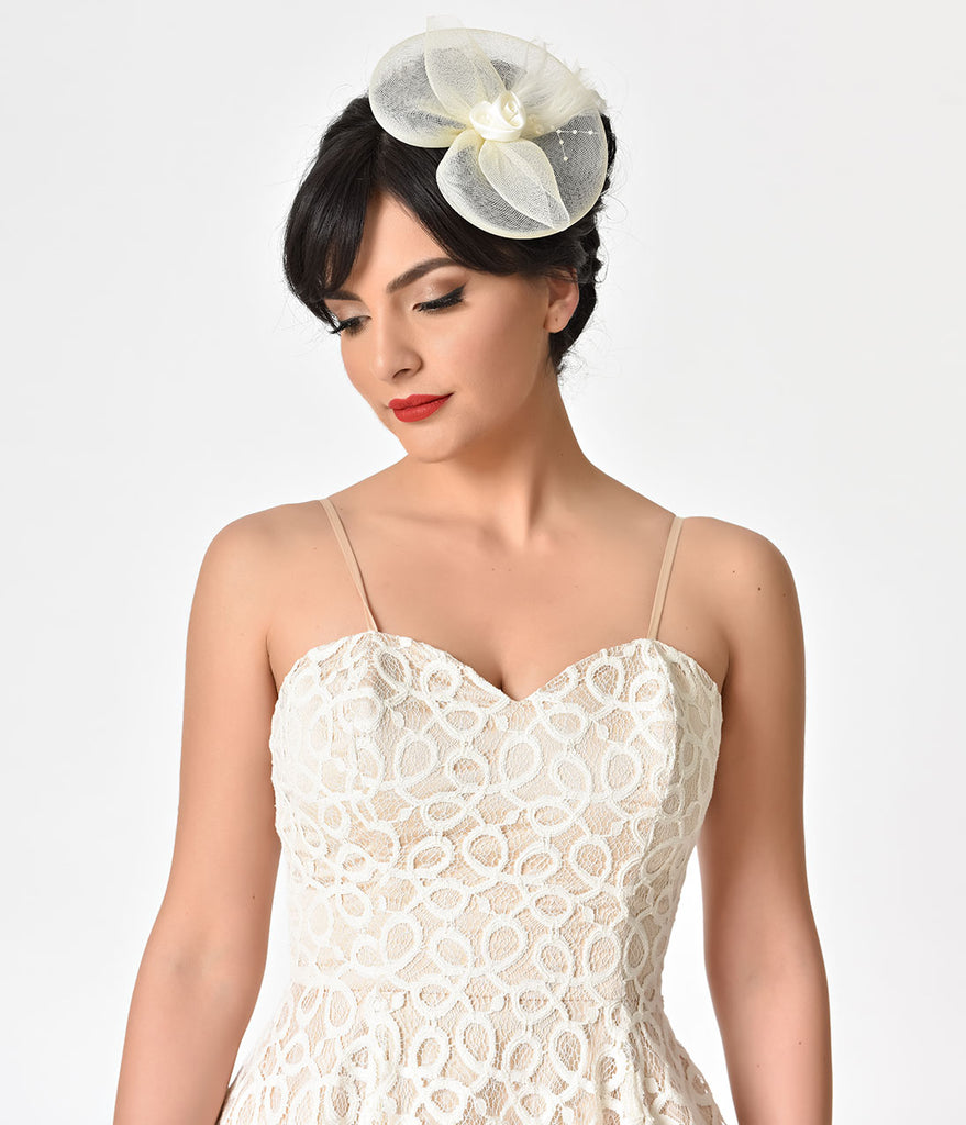 Unique Vintage 1940s Ivory Cream Mesh & Satin Rosette Fascinator