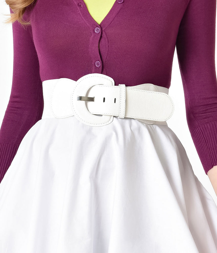 Retro Style White Leatherette Wide Elastic Cinch Belt