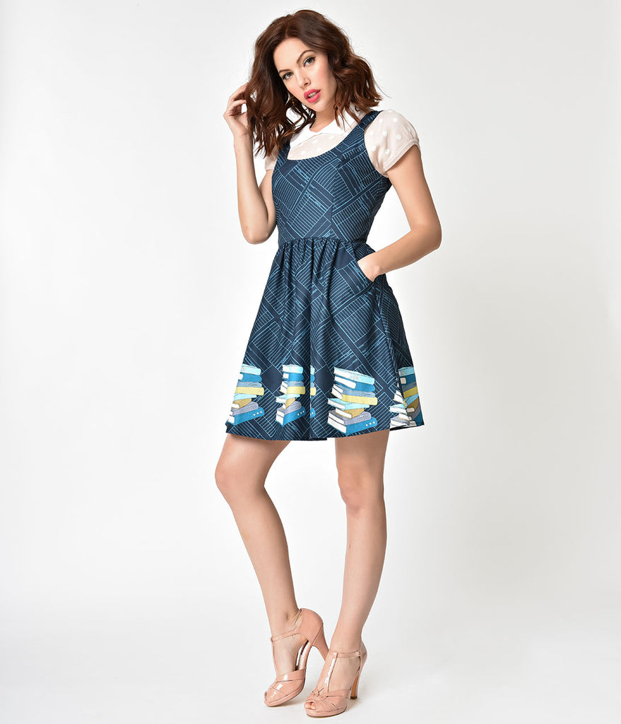 Folter Navy Blue Bookworm Fit & Flare Cotton Dress