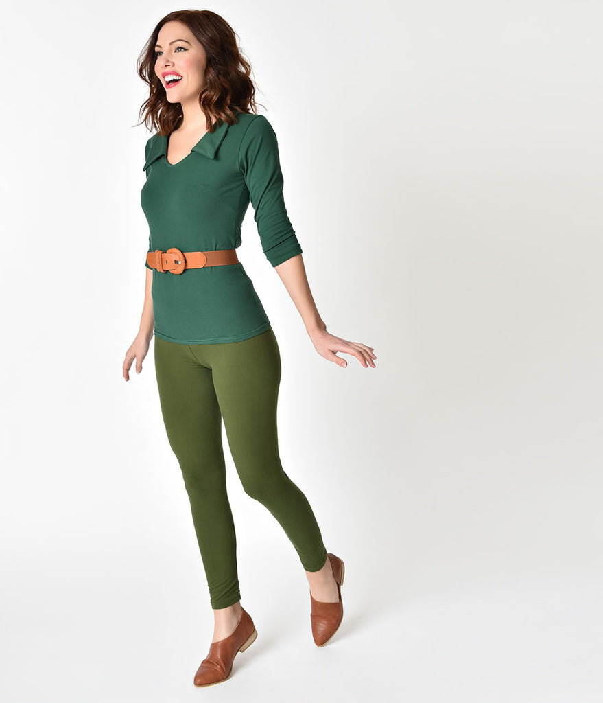 Olive Green Fitted High Waist Stretch Leggings