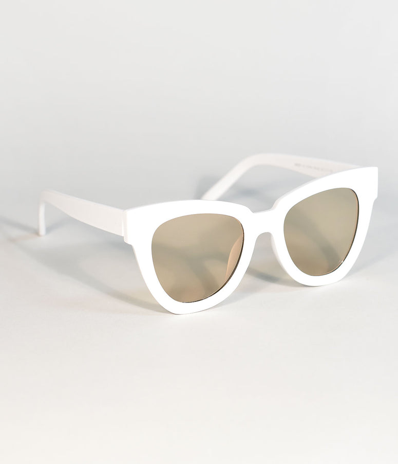 White Retro Cat Eye Standard Sunglasses