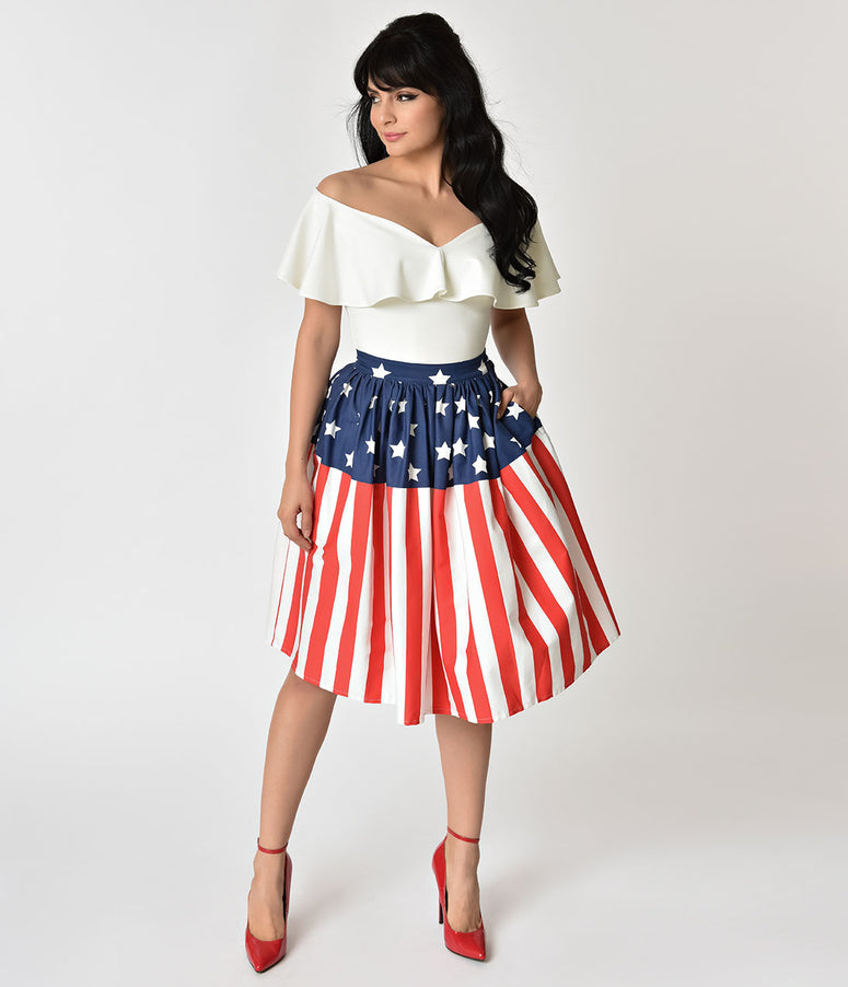 Unique Vintage 1950s Style American Flag High Waist Swing Skirt