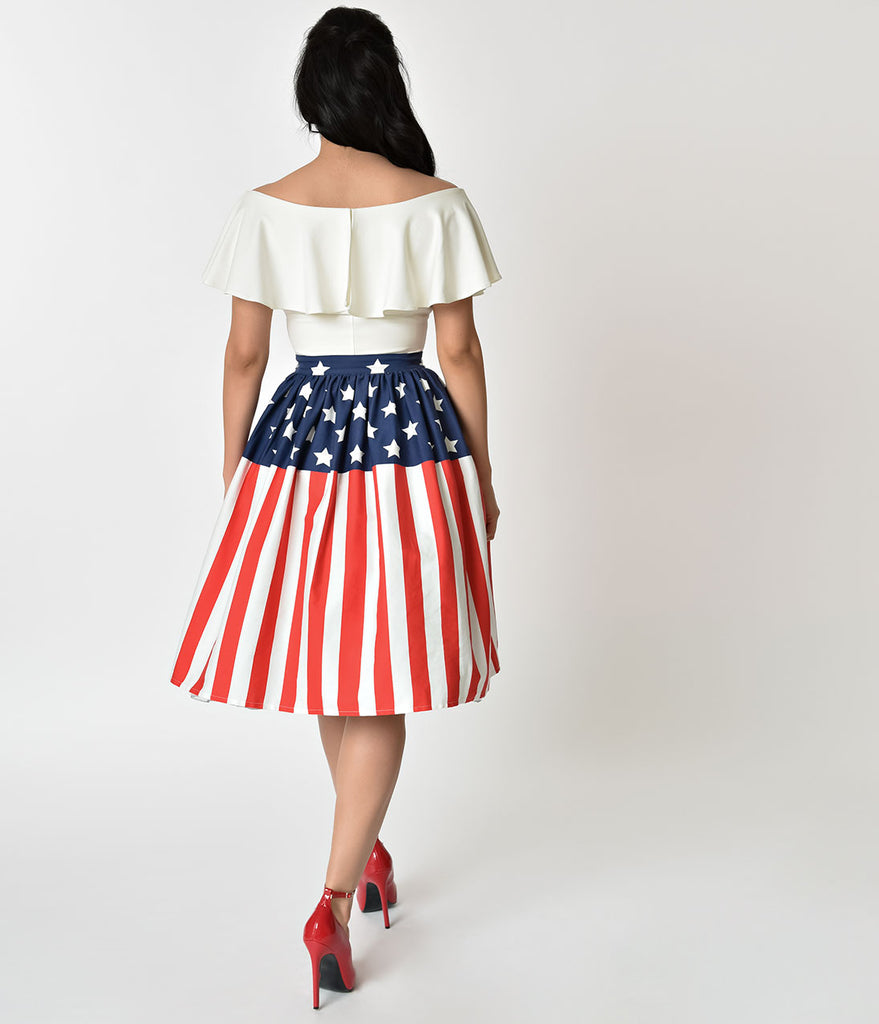 d7e6f704f27 Unique Vintage 1950s Style American Flag High Waist Swing Skirt