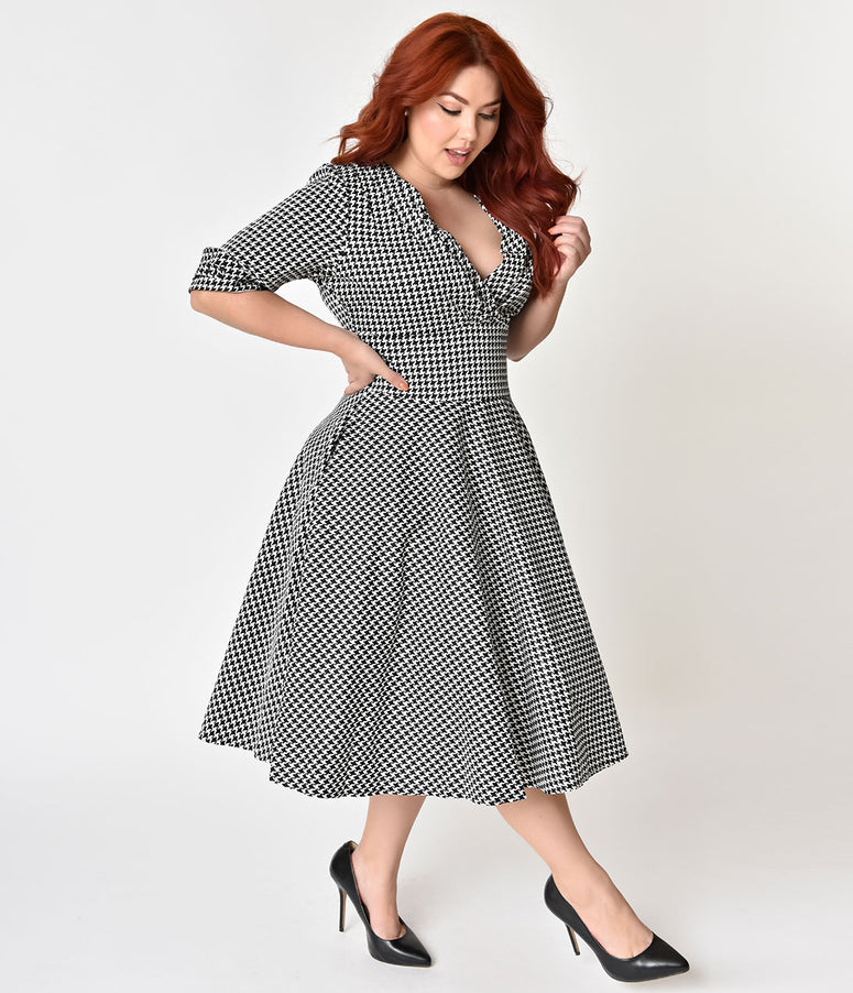 Unique Vintage Plus Size 1950s Black & White Houndstooth Delores Swing Dress with Sleeves