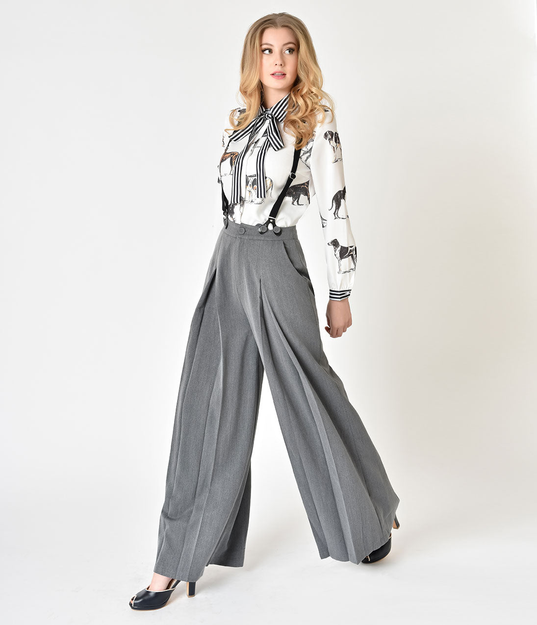 1920s Style Women's Pants, Trousers, Knickers, Tuxedo Voodoo Vixen 1940S Style Grey Khloe Suspender Trousers $40.00 AT vintagedancer.com