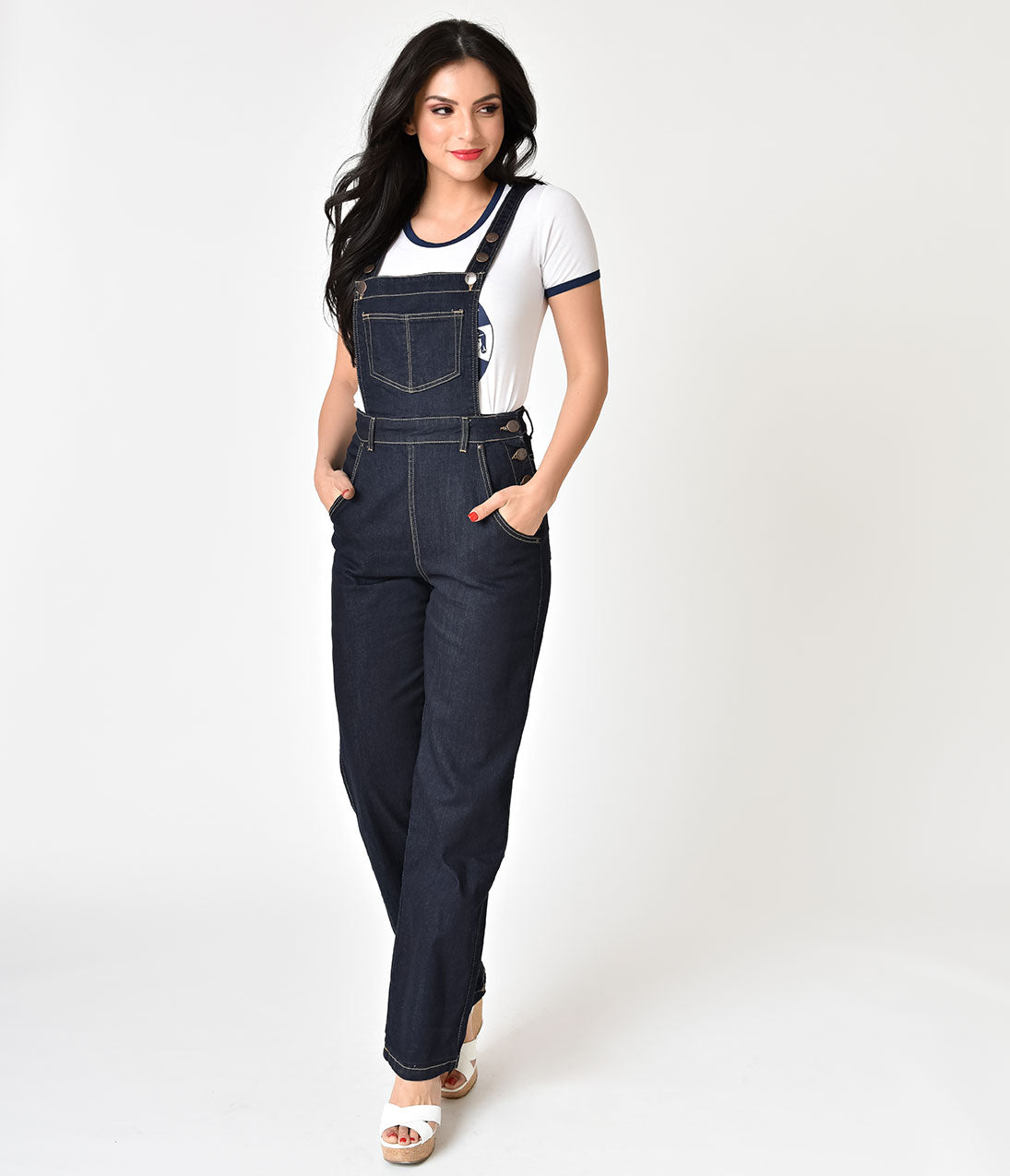 1950s Pants & Jeans- High Waist, Wide Leg, Capri, Pedal Pushers Hell Bunny Dark Dungaree Elly May Overalls $62.00 AT vintagedancer.com