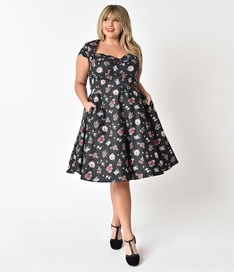 Hell Bunny Plus Size Black & Traditional Print 1950s Style Stevie Cotton Dress