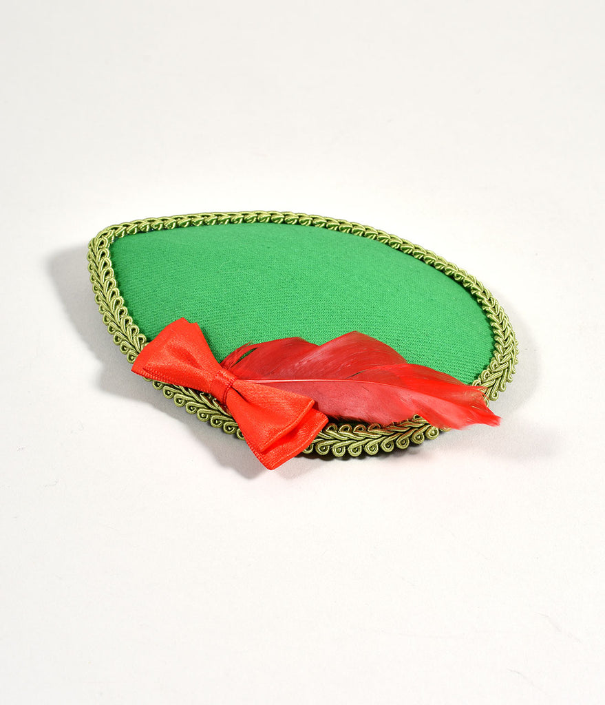Kelly Green & Red Feather Lost Girl Fascinator
