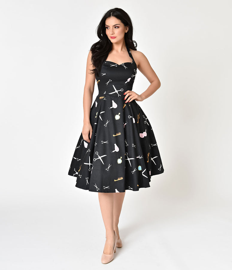 Black Salon Print Halter Top Cotton Swing Dress