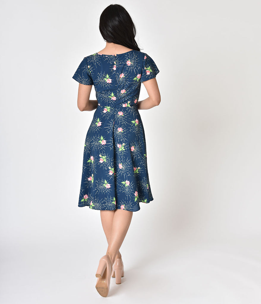 Unique Vintage 1940s Style Navy Webs Pink Roses Formosa Swing Dress