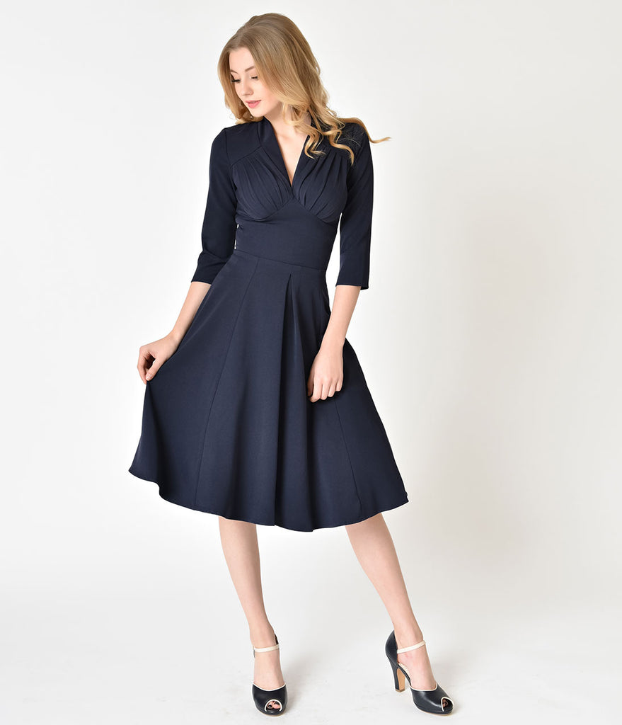 Miss Candy Floss 1950s Style Navy Blue Sleeved Vedette Swing Dress