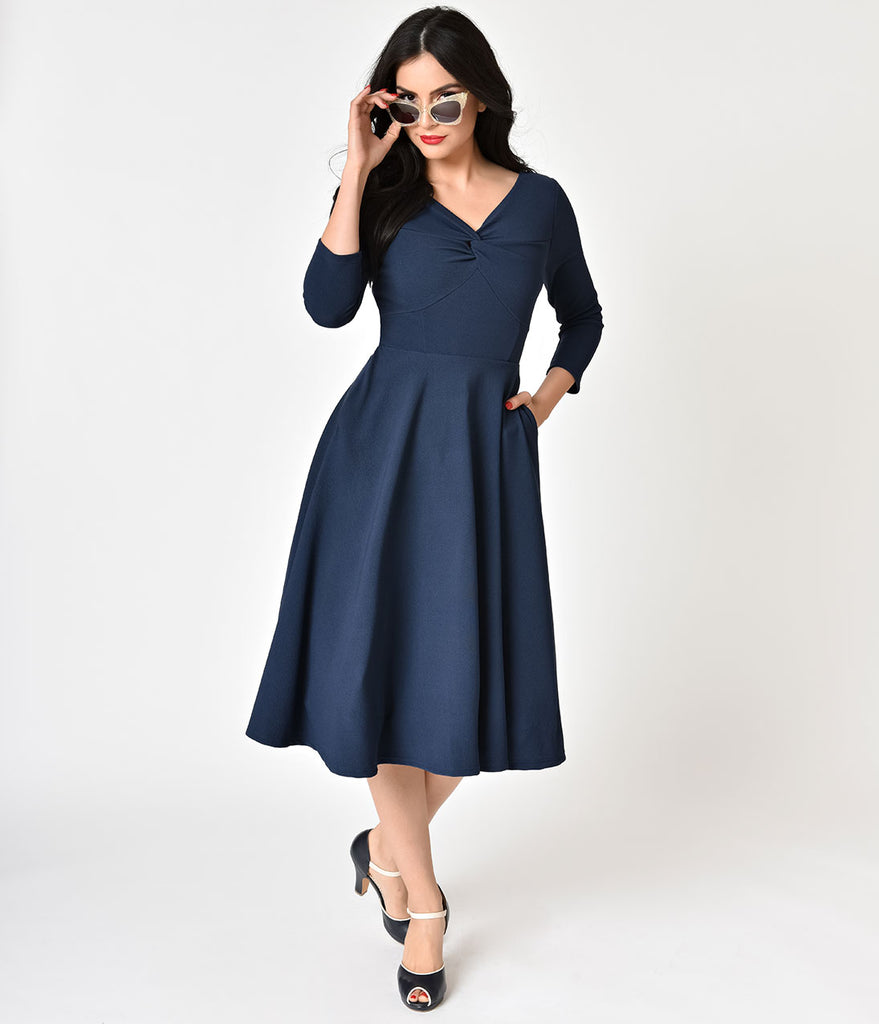 Navy Blue Three-Quarter Sleeve Knotted Swing Dress