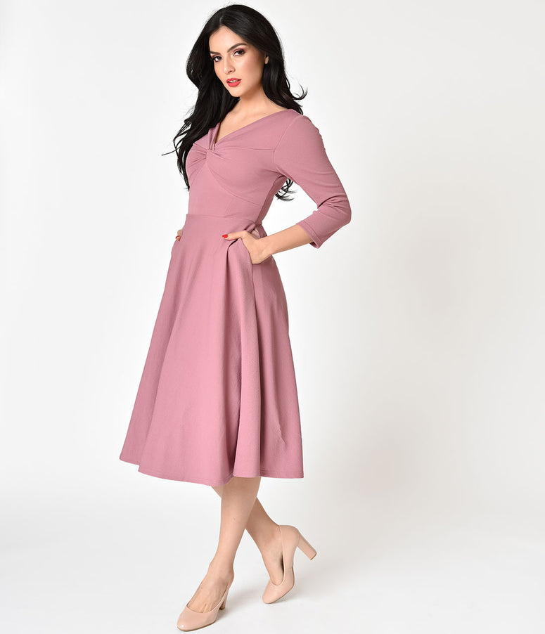 Pink Three-Quarter Sleeve Knotted Swing Dress