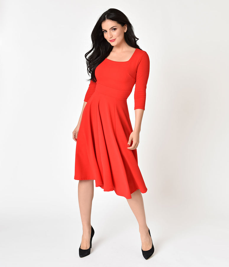 1950s Style Red Three-Quarter Sleeve Stretch Swing Dress