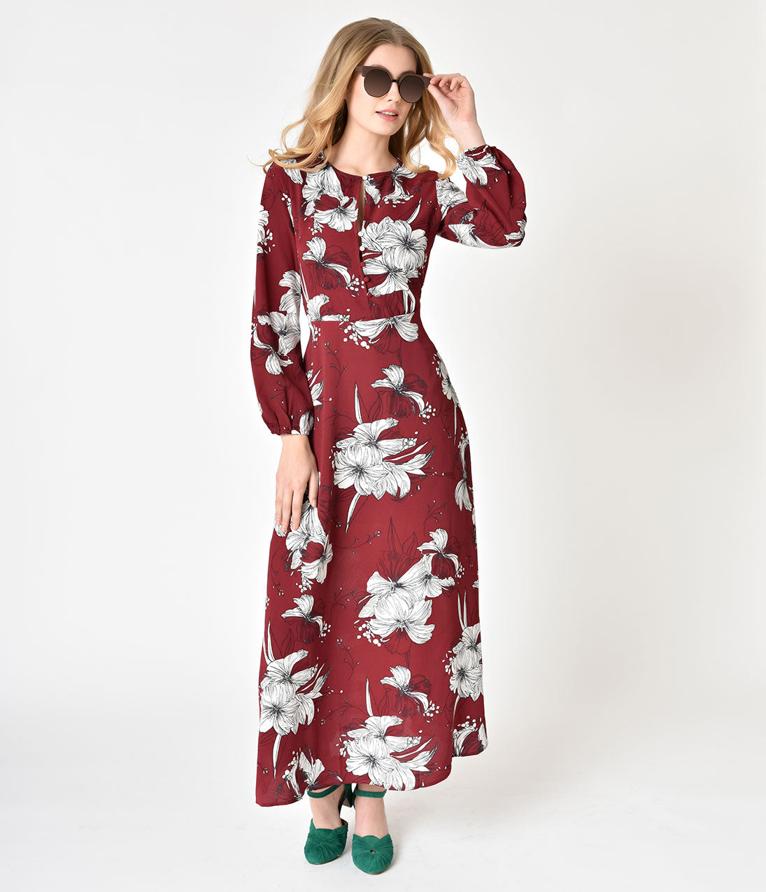 1960s Dresses: New 60s Style Dresses – Jackie O to Mod 1970s Style Burgundy  Ivory Floral Long Sleeve Crepe Maxi Dress $54.00 AT vintagedancer.com