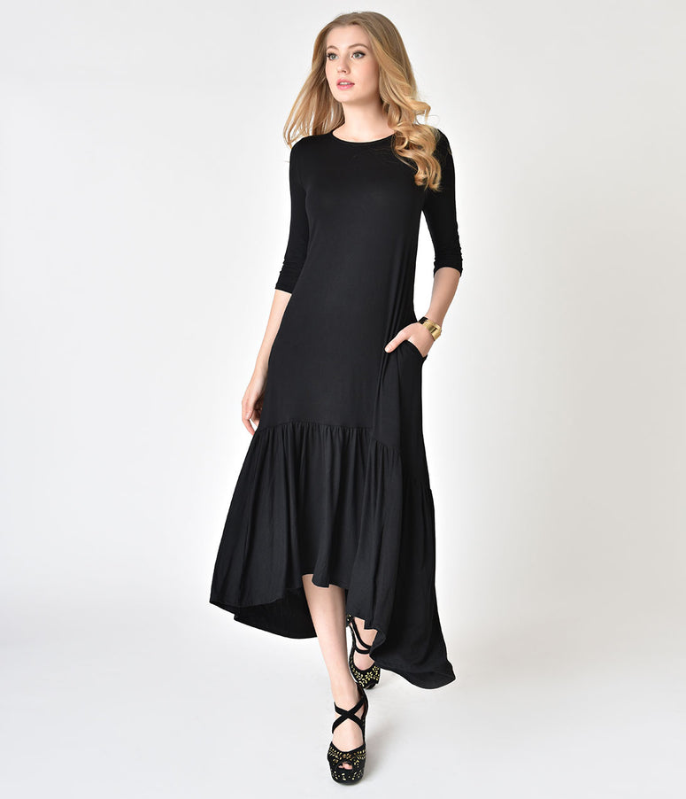 Vintage Style Black High-Low Sleeved Maxi Dress