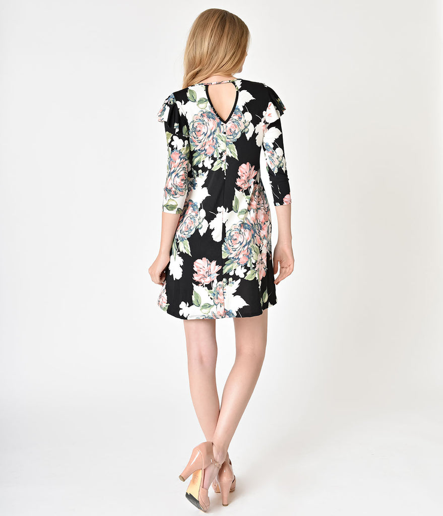 Retro Style Black & Watercolor Floral Print Sleeved Flare Dress