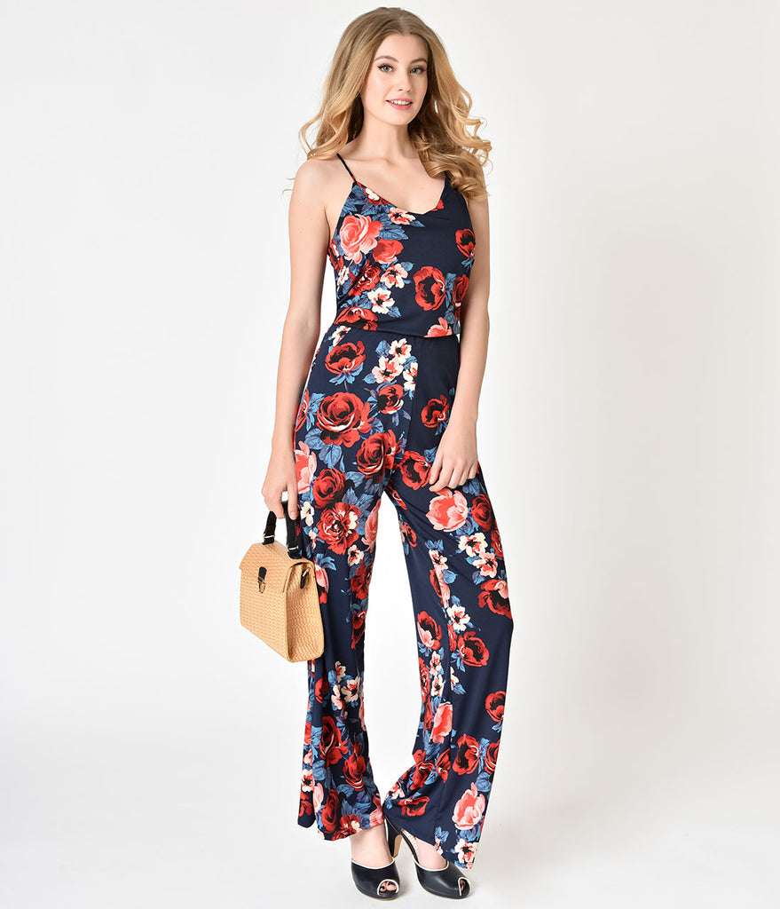 Vintage Style Navy Blue & Red Floral Spaghetti Strap Jumpsuit
