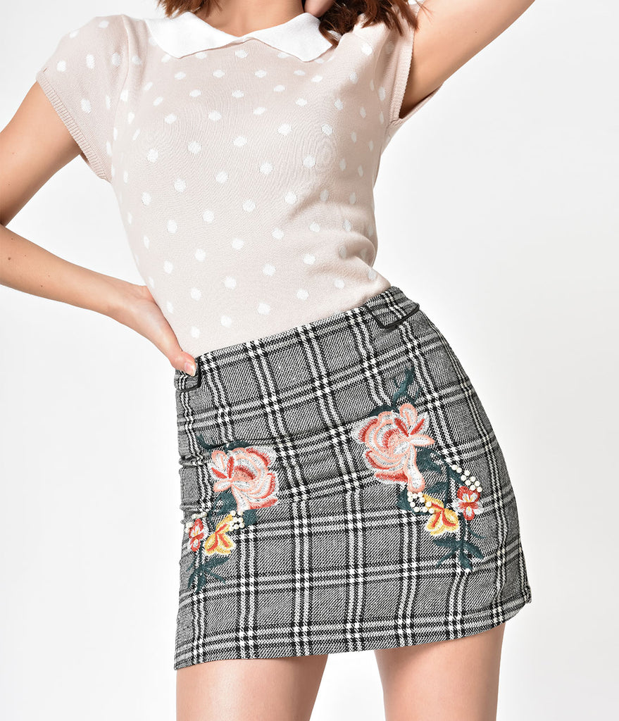 Grey & Black Plaid Floral Embroidered Knit Mini Skirt