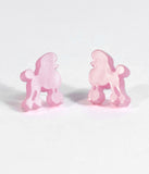 Pink Poodle Resin Stud Earrings