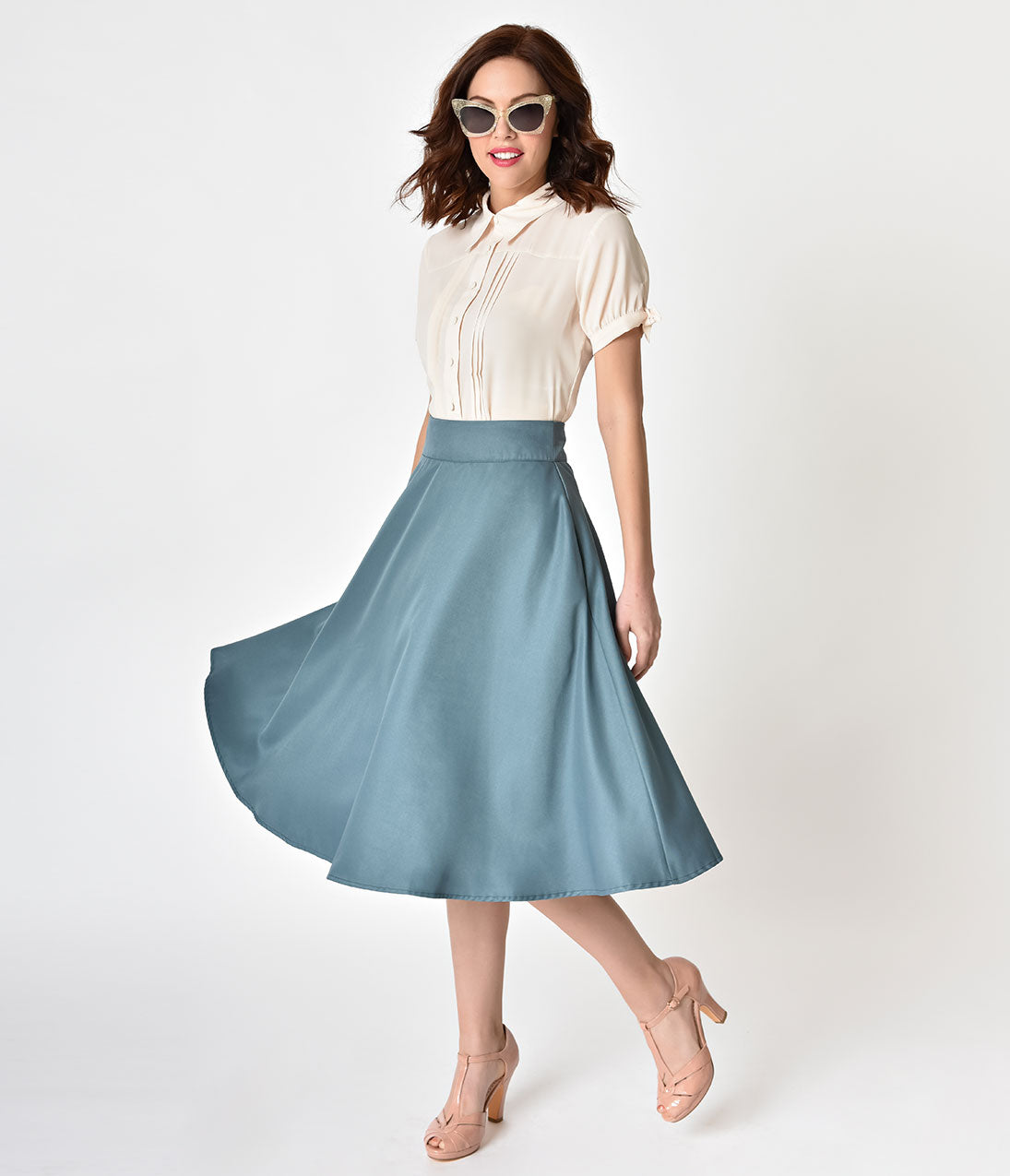 Retro Skirts: Vintage, Pencil, Circle, & Plus Sizes Unique Vintage Retro Style Sage High Waist Vivien Swing Skirt $48.00 AT vintagedancer.com
