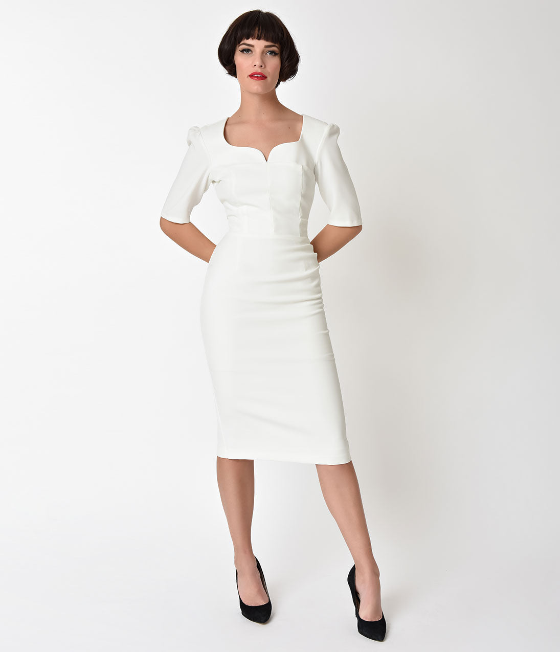 50s Wedding Dress, 1950s Style Wedding Dresses, Rockabilly Weddings The Pretty Dress Company Ivory Sleeved Charlotte Pencil Dress $88.00 AT vintagedancer.com