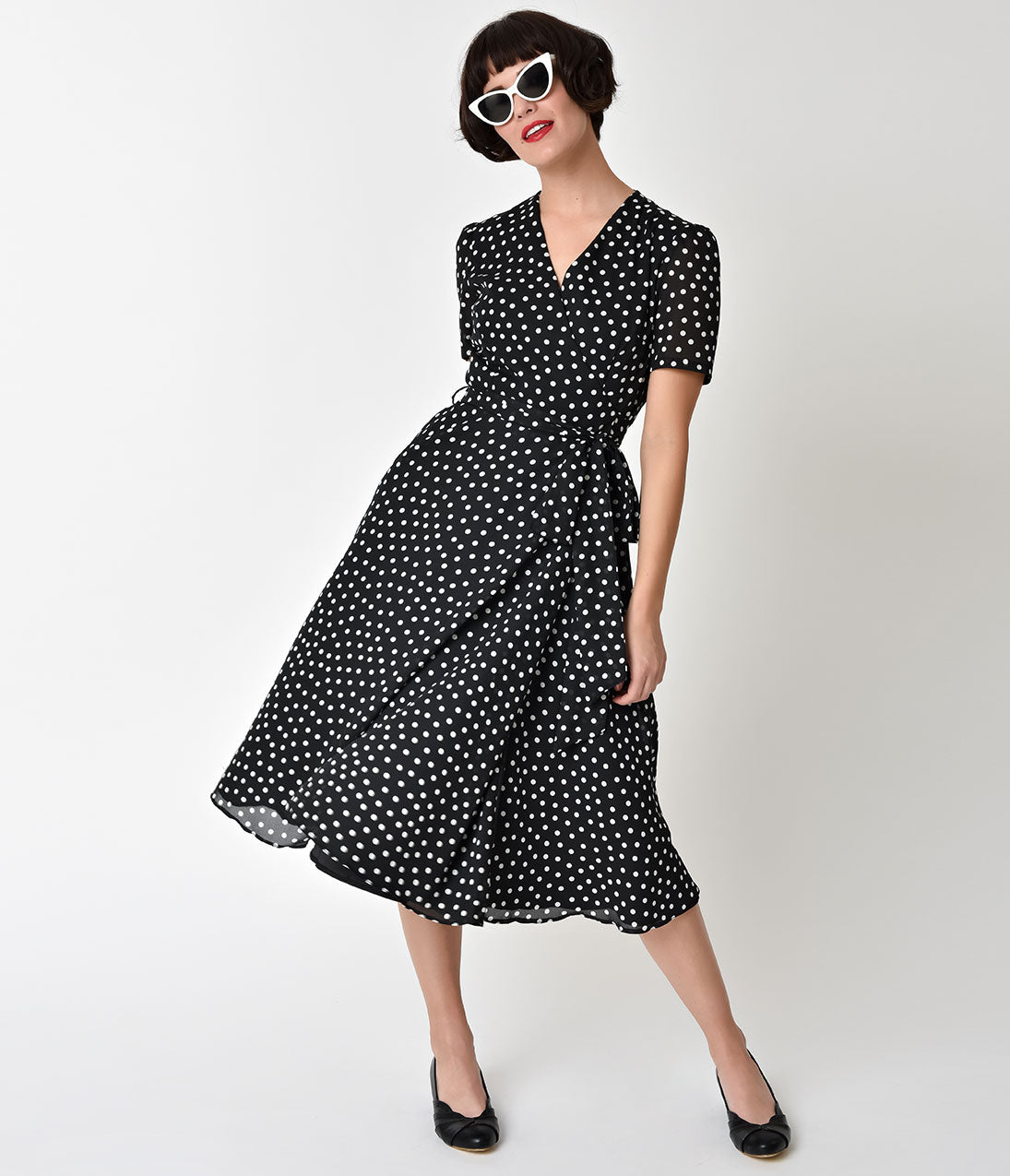 Polka Dot Dresses: 20s, 30s, 40s, 50s, 60s The Pretty Dress Company 1940S Black  Ivory Polka Dot Wrap Dress $147.00 AT vintagedancer.com