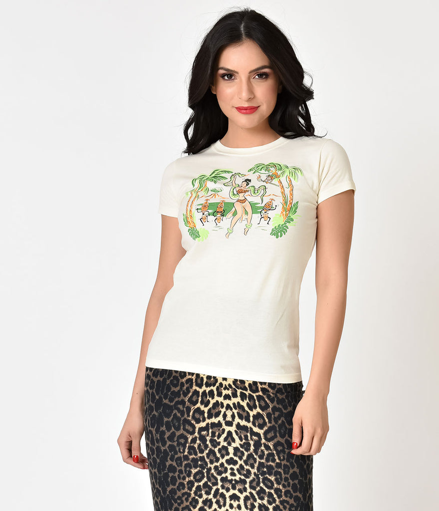Natural Ivory Jungle Queen Cotton Ladies Tee Shirt