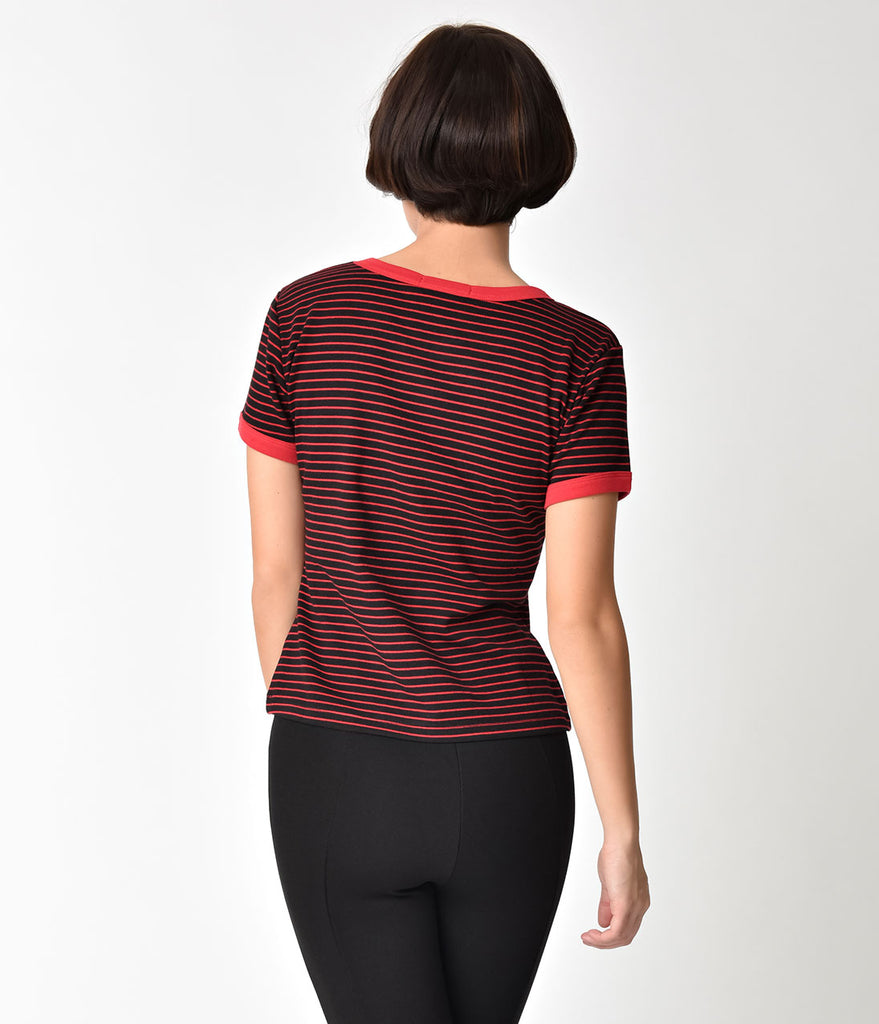 Hell Bunny Black & Red Striped Cherry Detailed Ellie Top