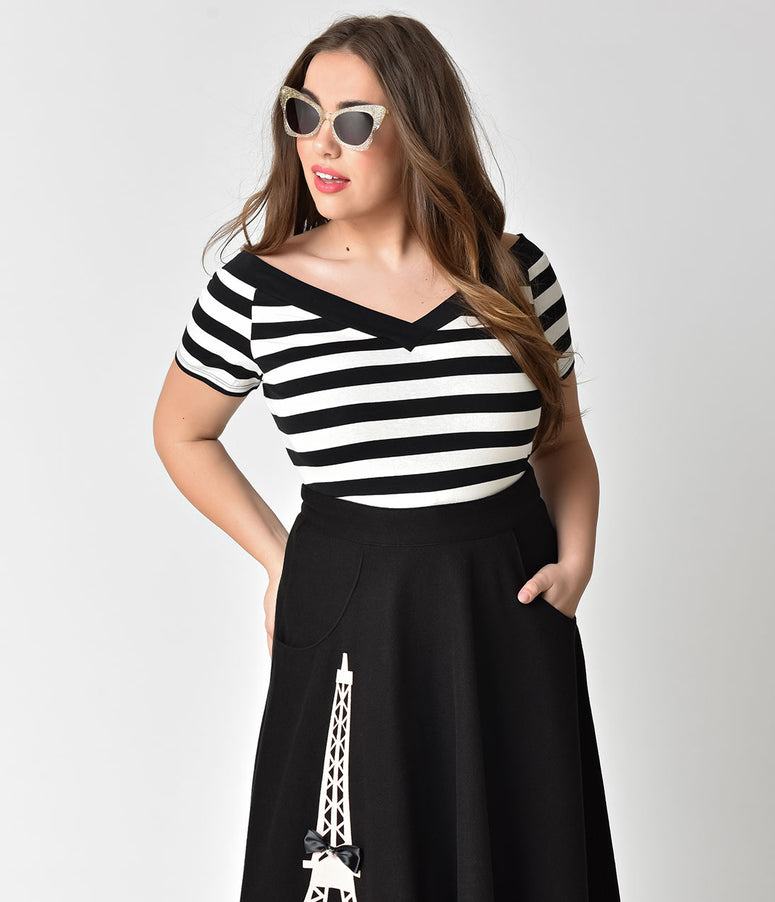 Hell Bunny Plus Size Black & White Striped Cotton Caitlin Top